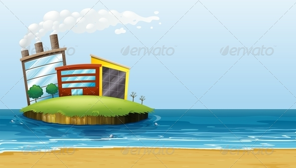 GraphicRiver Factory on an Island at the Beach 7995418