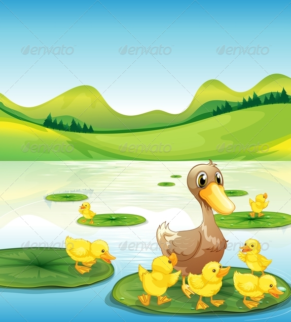 GraphicRiver Duck and Her Ducklings at the Pond 7995447