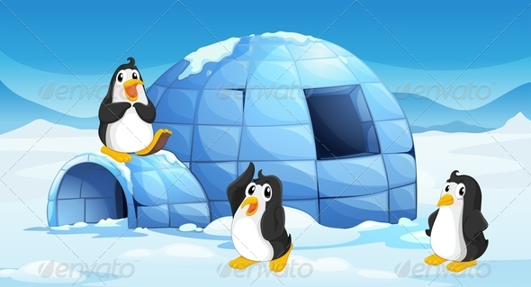 GraphicRiver Three Penguins Near an Igloo 7995459
