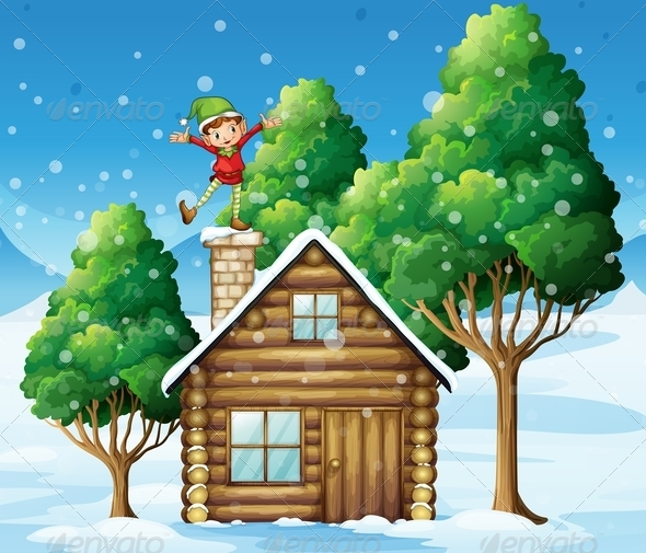 GraphicRiver Elf Above a Wooden House Near the Trees 7995463