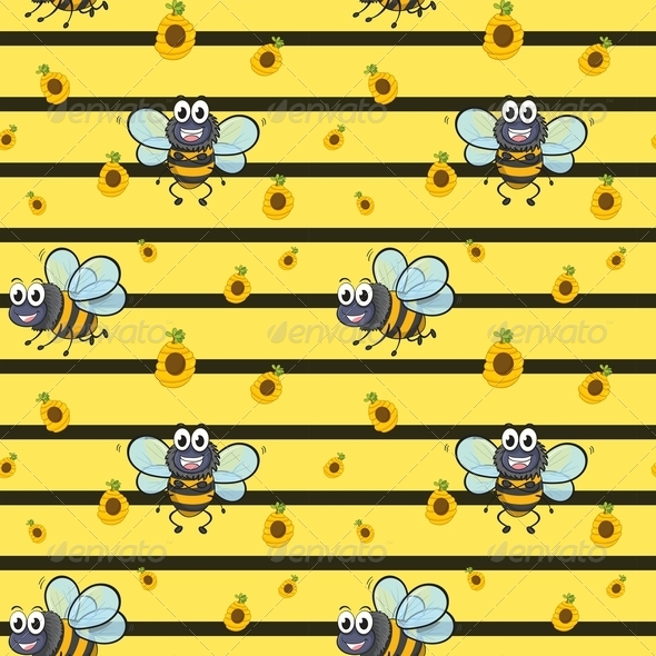 GraphicRiver Seamless Design with Smiling Bees 7995467