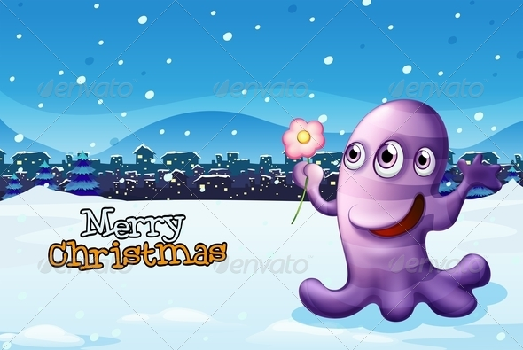 GraphicRiver A Merry Christmas Template with a Purple Monster 7995468