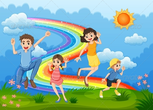 GraphicRiver A Family at the Hilltop Jumping with a Rainbow 7995526