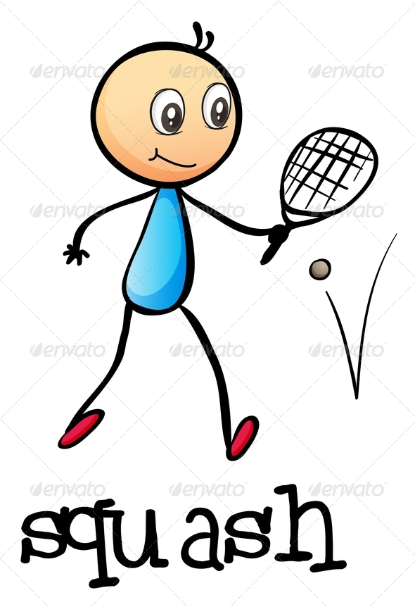 GraphicRiver Stickman Playing Tennis 7995573