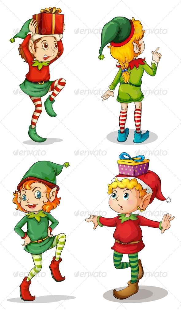 GraphicRiver Four Playful Santa Elves 7995633