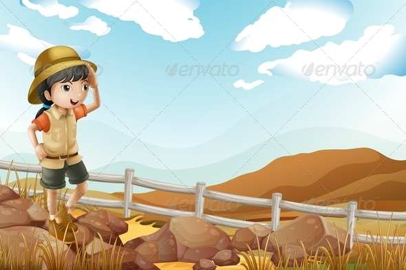 GraphicRiver Young Female Explorer Walking Alone 7995634