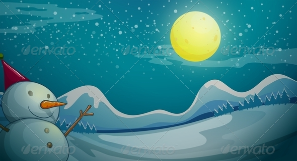 GraphicRiver A Snowman Under the Bright Moon 7995647