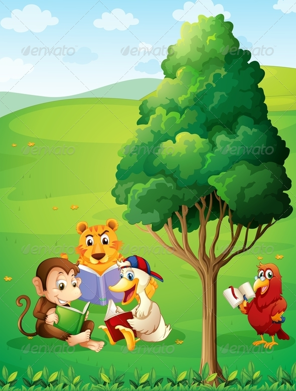 GraphicRiver Animals Reading Under a Tree on a Hilltop 7995649
