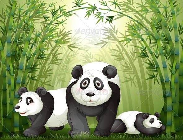 GraphicRiver Pandas with Bamboos 7995709
