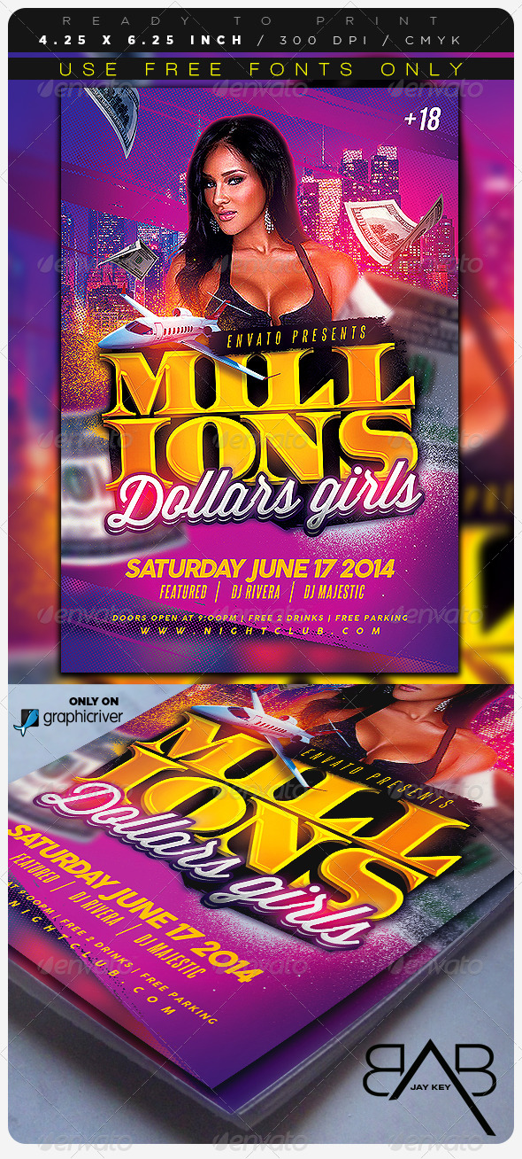 GraphicRiver Millions Dollars Girls Party Flyer 7995730