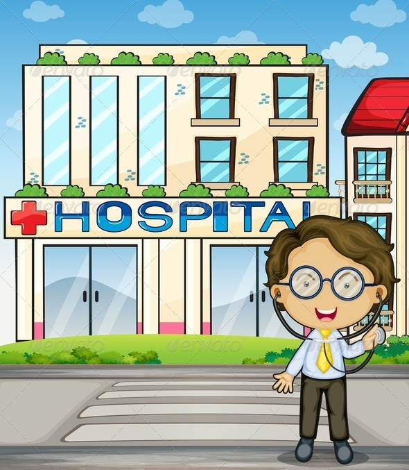 GraphicRiver Doctor in front of Hospital 7995806