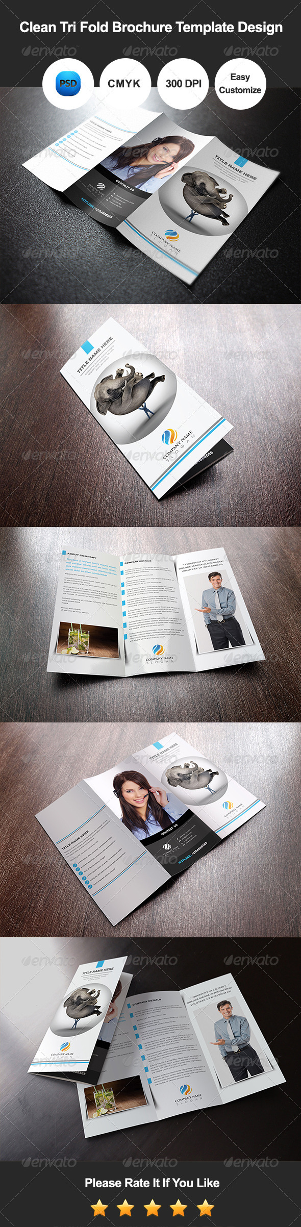 GraphicRiver Clean Tri Fold Brochure Template Design 7995825