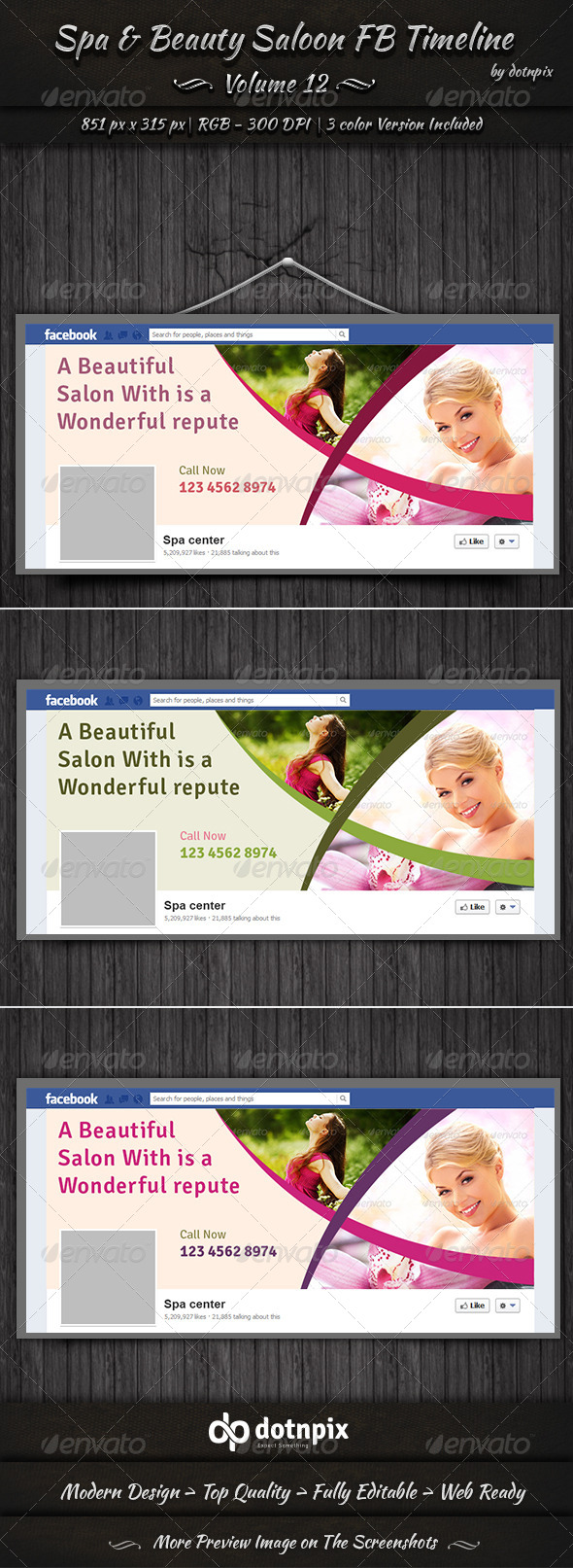 GraphicRiver Spa & Beauty Saloon FB Timeline Volume 12 7995845