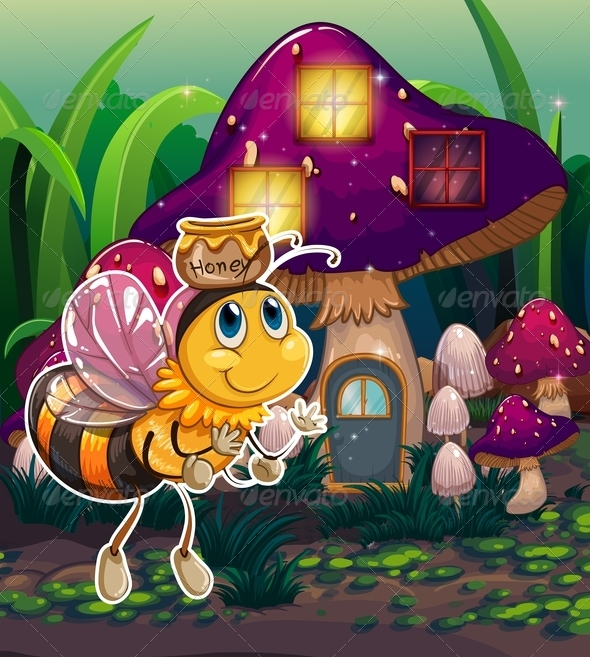 GraphicRiver Bee with Mushroom House 7996037
