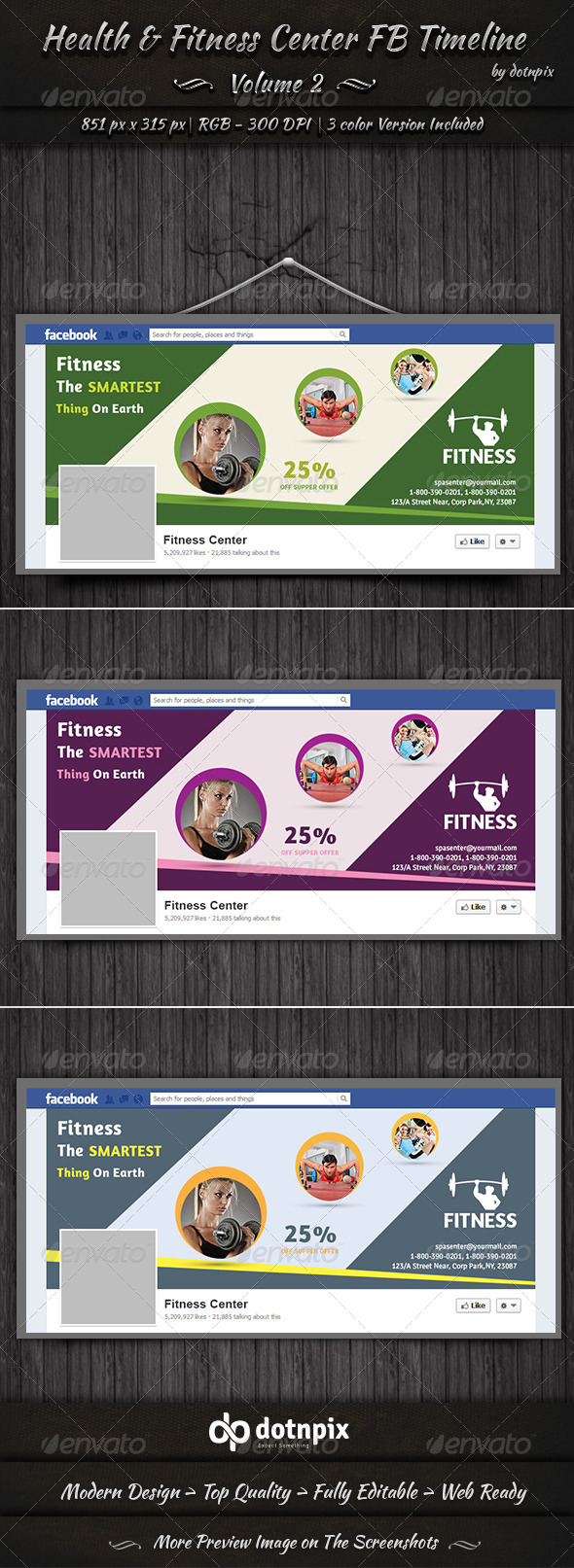 GraphicRiver Health & Fitness Center FB Timeline Volume 2 7996084