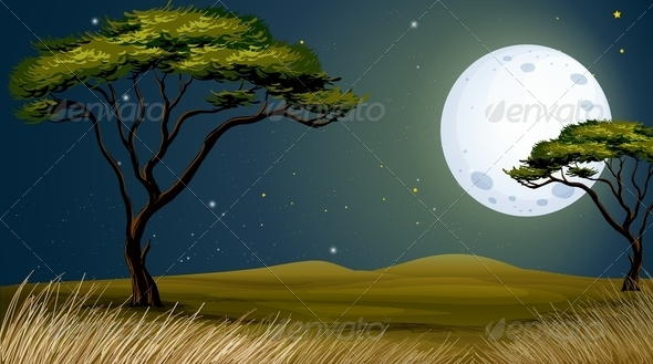 GraphicRiver Tree with Moon Landscape 7996189