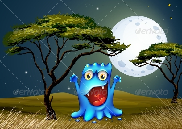 GraphicRiver Tree with Moon and Monster 7996190