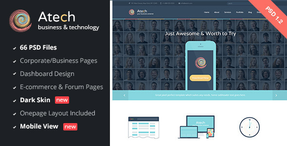 Atech - Business & Technology PSD Template - Software Technology