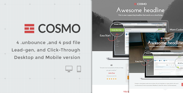 ThemeForest Cosmo Bundle Unbounce pages 7996241