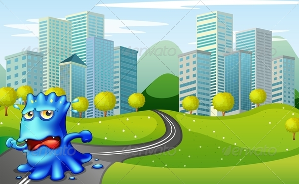 GraphicRiver Monster running from Buildings 7996250