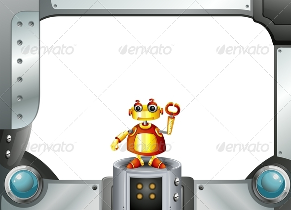 GraphicRiver Robot with Empty Frame 7996267