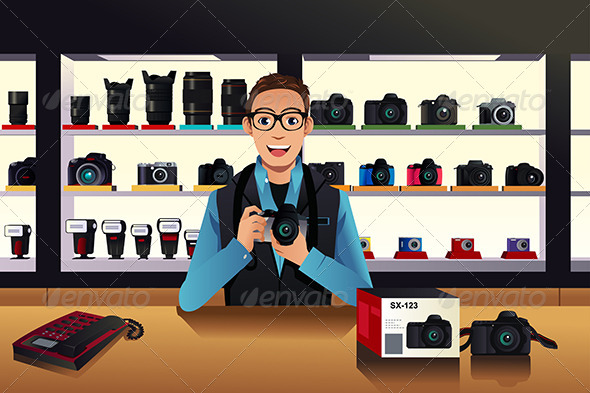 GraphicRiver Store Owner in Camera Shop 7996275