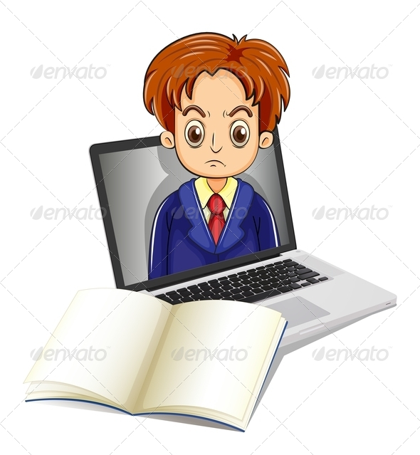 GraphicRiver Man in Laptop with Notebook 7996277