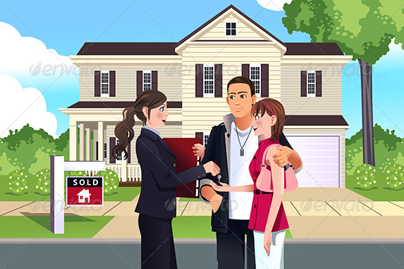 GraphicRiver Real Estate in front of House 7996292