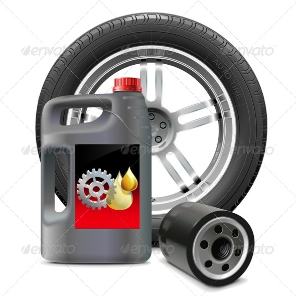 GraphicRiver Vector Engine Oil with Oil Filter and Tire 7996308