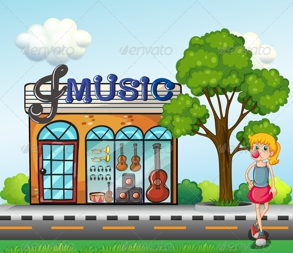 GraphicRiver Girl in front of Music Store 7996321