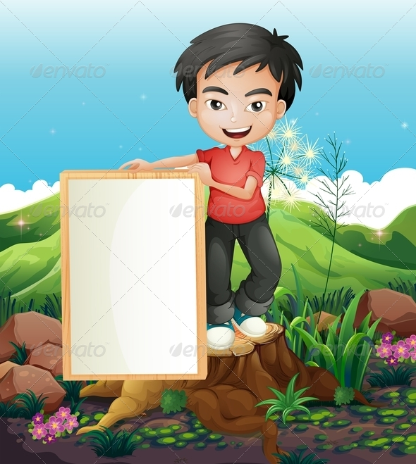 GraphicRiver Man holding Empty Banner 7996329