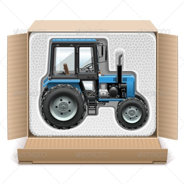 GraphicRiver Vector Toy Tractor in Box 7996355