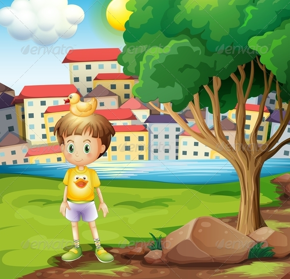 GraphicRiver Boy with Rubber Duck 7996514