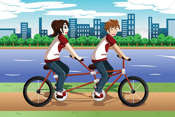 GraphicRiver Couple Riding Tandem Bike 7996537