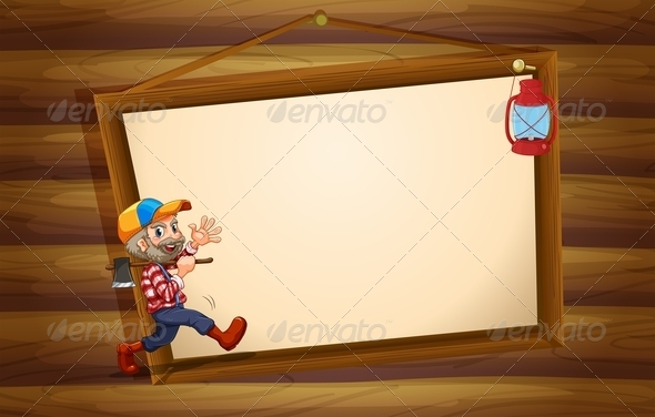 GraphicRiver Lumberjack on Wooden Template 7996542