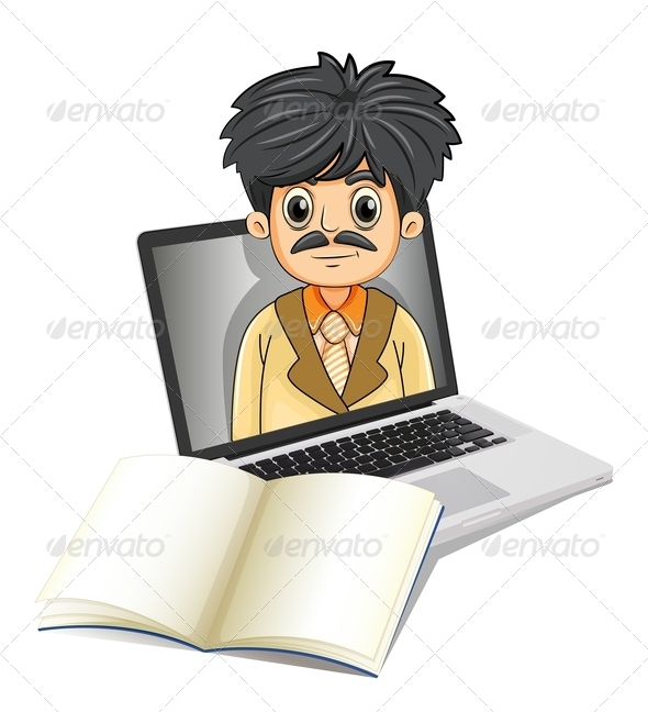 GraphicRiver Laptop with Man and Notebook 7996549