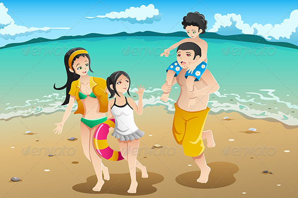 GraphicRiver Family going to the Beach 7996615