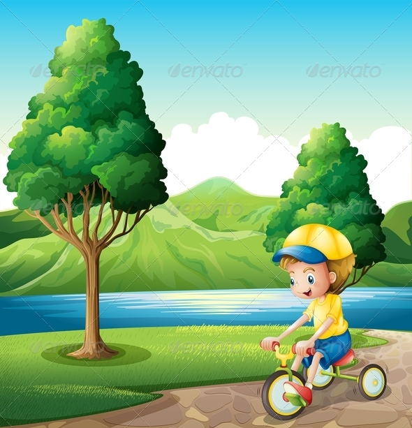 GraphicRiver Boy playing with Bike 7996616