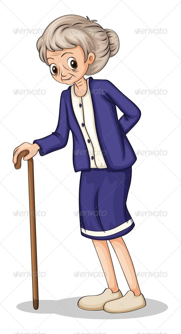 Elderly Woman using Cane