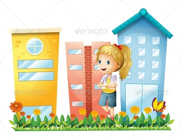 GraphicRiver Girl in front of Buildings with Garden 7996705