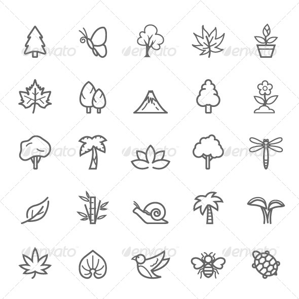 GraphicRiver 25 Outline Stroke Natural Icons 7996715