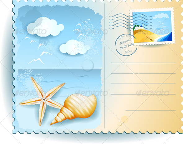 GraphicRiver Seascape with Shells Postcard 7996748