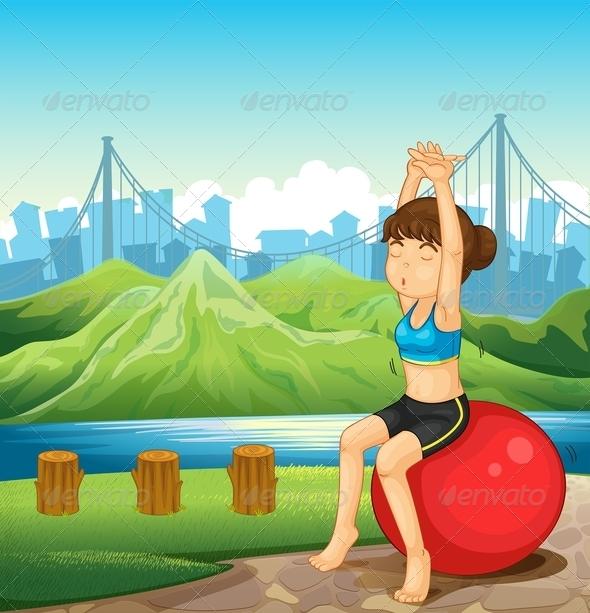 GraphicRiver Girl Exercising near River 7996762