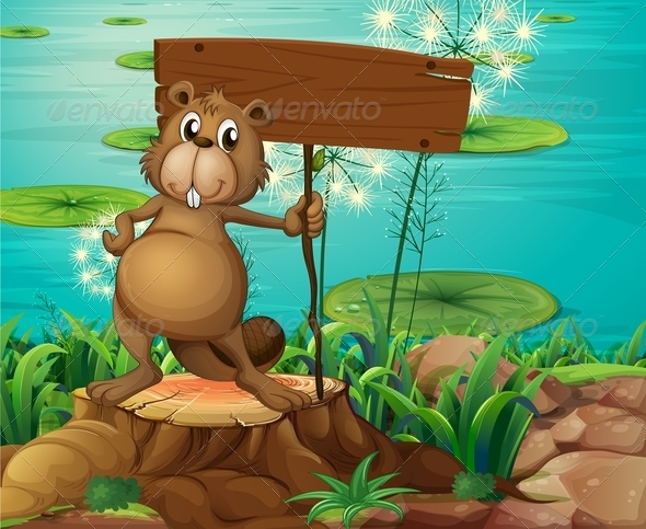 GraphicRiver Beaver holding a Sign Board 7996795