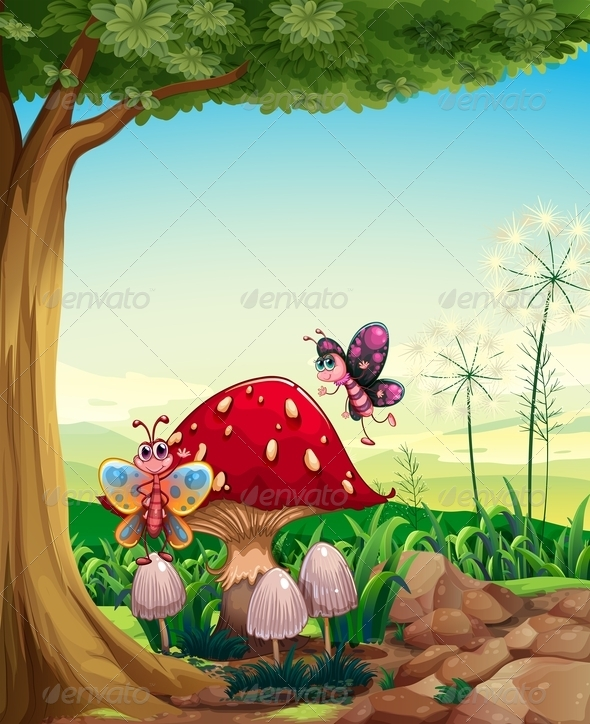GraphicRiver Mushroom with Butterflies 7996854