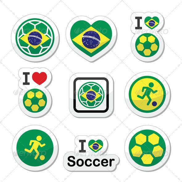 Brazilian Flag, Football Icons Set