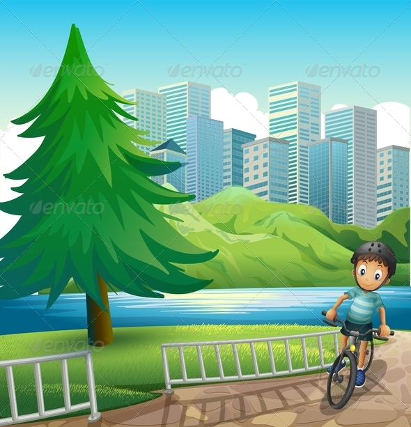 GraphicRiver Boy Biking in front of Buildings 7996914
