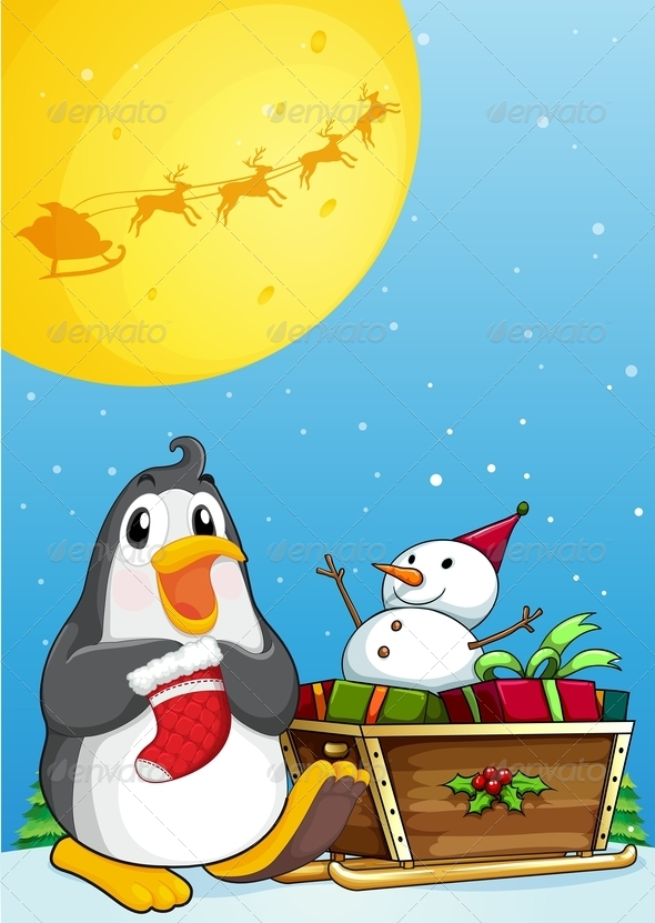 GraphicRiver Penguin with Sleigh and Snowman 7996915