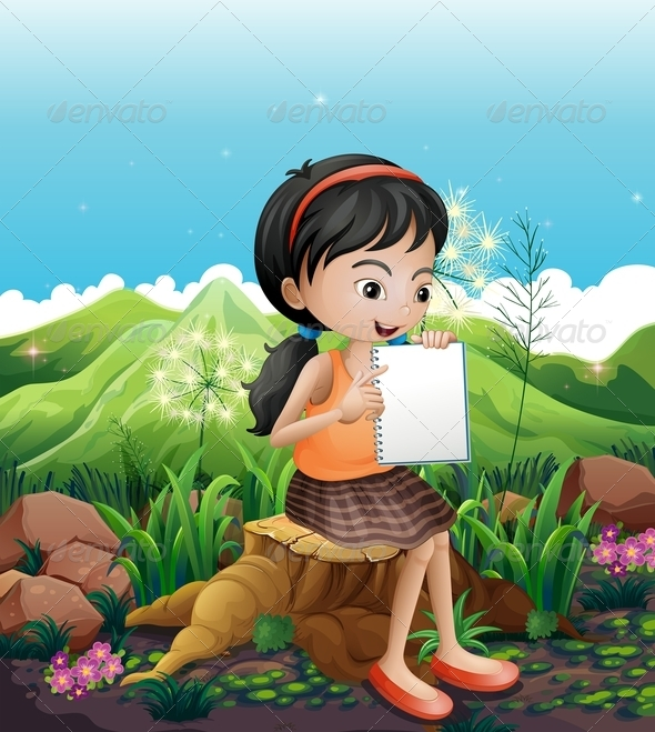 GraphicRiver Girl sitting on Stump with Notebook 7996916