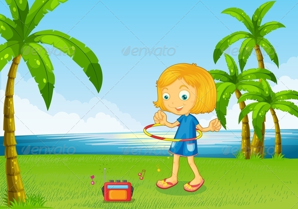 GraphicRiver Girl playing Hulahoop near River 7996959
